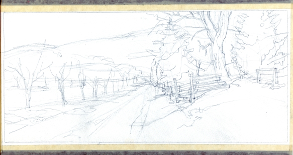 "preliminary sketch for ""South, Off Jarmin's Gap Road"